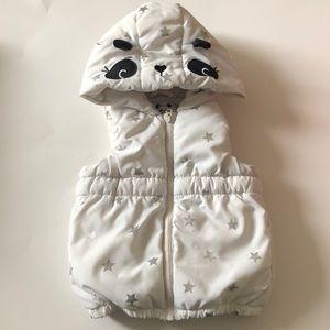 Gymboree White Hoodie Puffer Vest